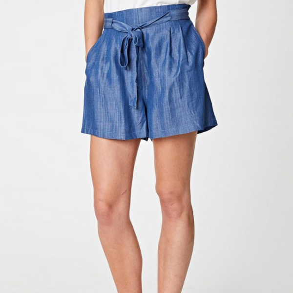 Thought Meena Paperbag Waist Chambray Shorts 3618