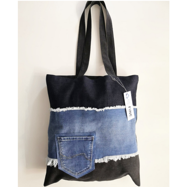 Refine Frayed Denim Embellished Pocket Tote 02