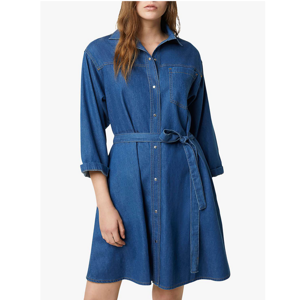 French Connection Chambray Shani Denim Shirt Mini Dress 71NBE
