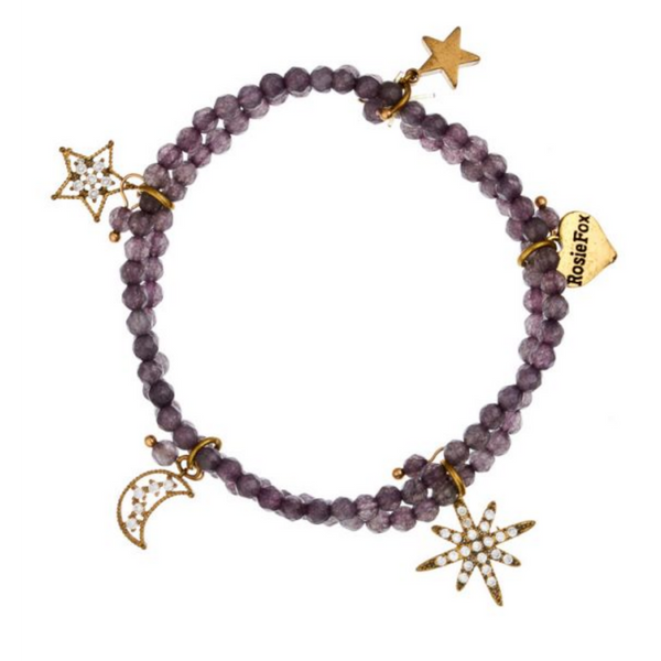 Rosie Fox Dove Agate Star Charm Statement Bracelet