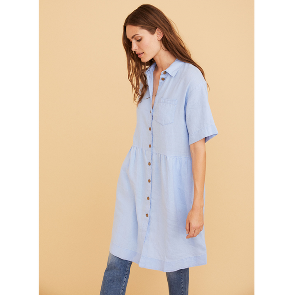Part Two Hatla Vista Blue Linen Dress 5898