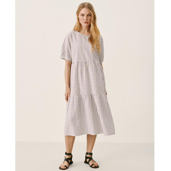 Part Two Iane Relaxed Smock Blue Check Midi Dress 6038