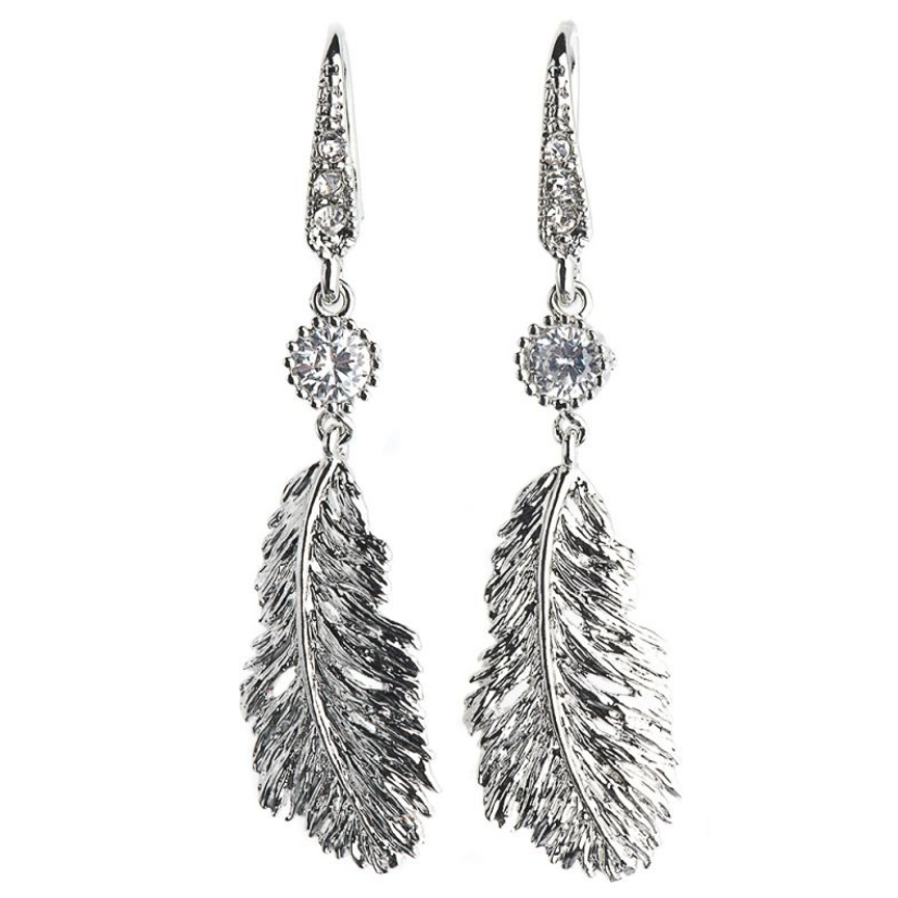 Rosie Fox Silver Lucky Feather Crystal Earrings FJE371