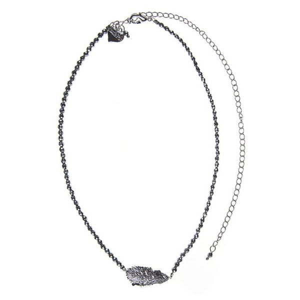 Rosie Fox Silver Hematite Lucky Feather Necklace FJN699