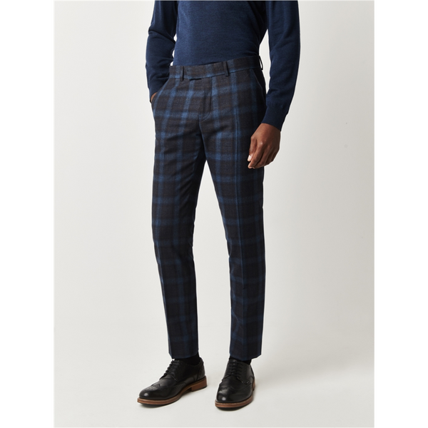 Gibson London Tweed Check Trousers - Teal G18216RDT
