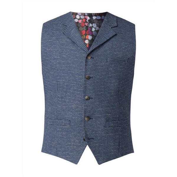 Gibson Tyburn Hounds Tooth Waistcoat G18130TB - blue