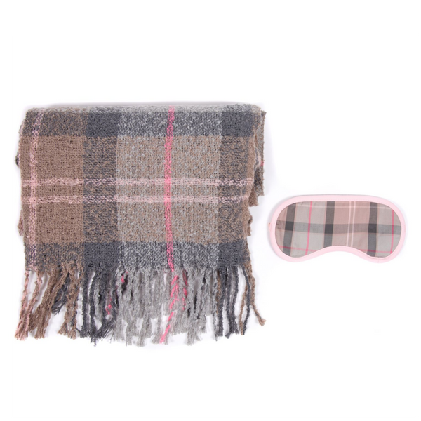 BARBOUR TARTAN BOUCLE BLANKET & EYE MASK GIFT SET LAC0207