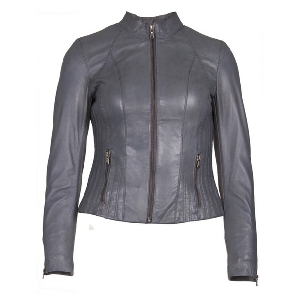 Helium Grey Quilted Leather Jacket with Fabric Sleeves F-20138