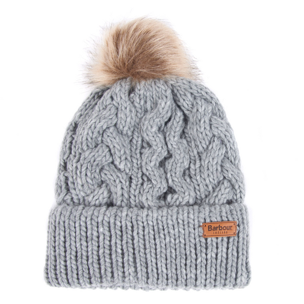 BARBOUR PENSHAW CABLE KNIT BEANIE GREY