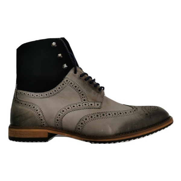Lacuzzo Men's Fur Lined Italian Leather Zip Brogue Boot