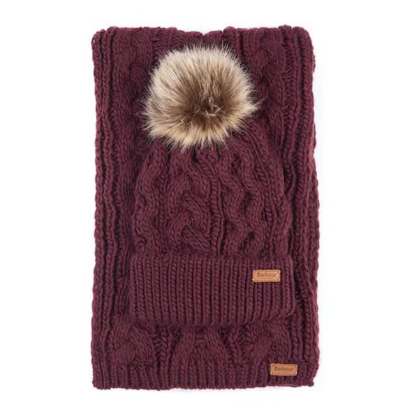 Barbour Penshaw Beanie And Scarf Gift Set LGS0025