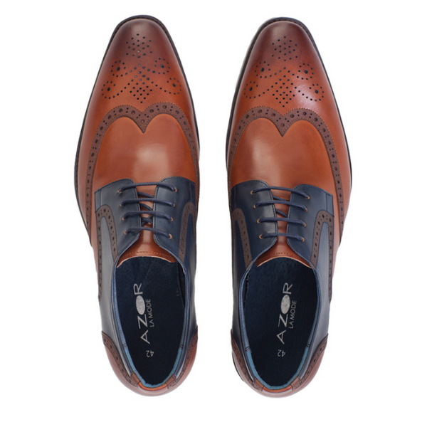 AZOR MENS MISSORI LACE BROGUE SHOES IN TAN & TEAL