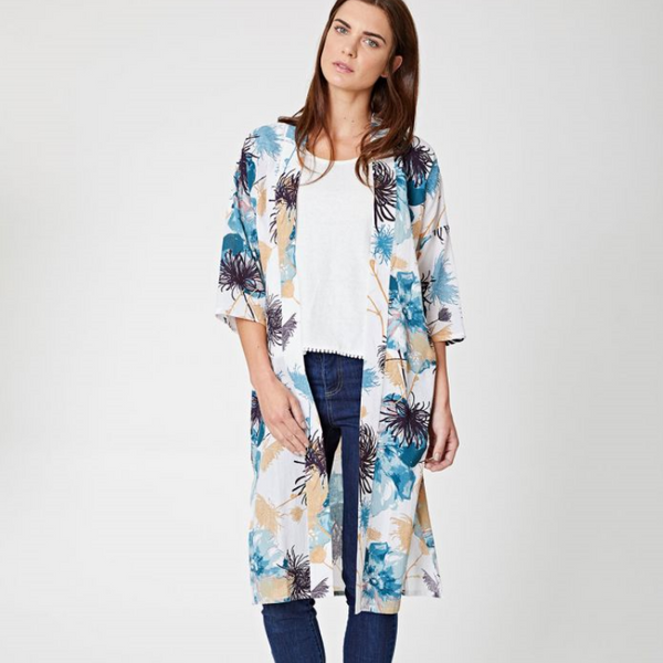 Thought Tahiti Long Summer Kimono 3671
