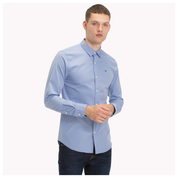 TOMMY JEANS MEN Original Cotton Stretch Shirt - Lavender Lustre