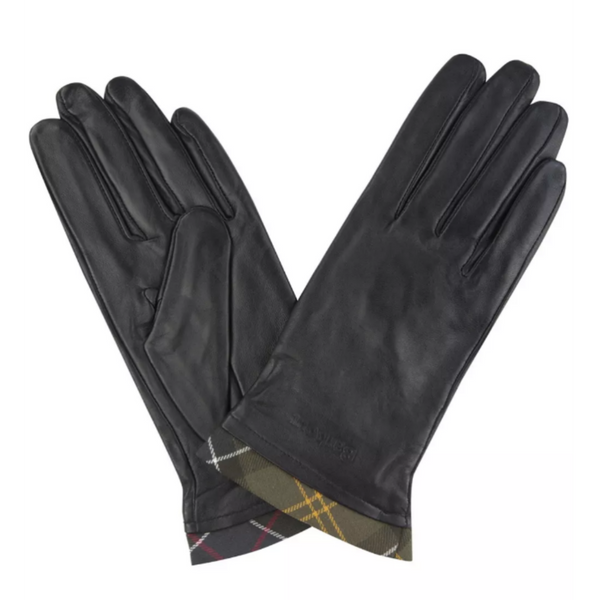 Barbour Tartan Trimmed Leather Gloves LGL0048