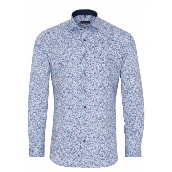 ETERNA LONG SLEEVE SHIRT SLIM FIT STRETCH BLUE PRINTED F142-3319