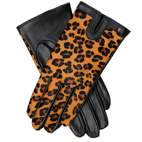 Dents Leopard Ponyskin & Leather Gloves 7-2439