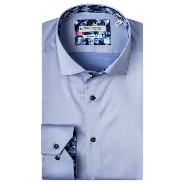 Giordano Leaf Trim Soft Fine Twill Shirt - 207849 Light Blue