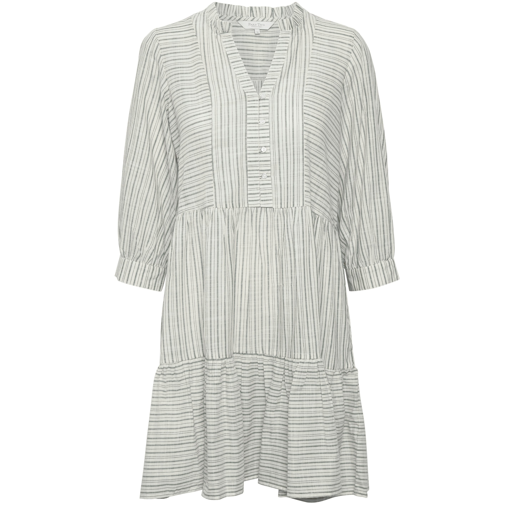 Part Two Crystall Linen Blue Striped Dress 5210