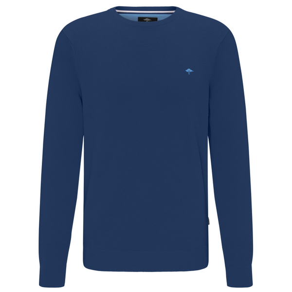 Fynch Hatton V-Neck Cotton Jumper 1120-602 - Midnight