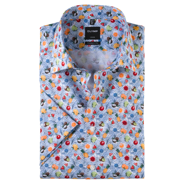 OLYMP Luxor, modern fit, New Kent, White Fruit Short Sleeve Shirt
