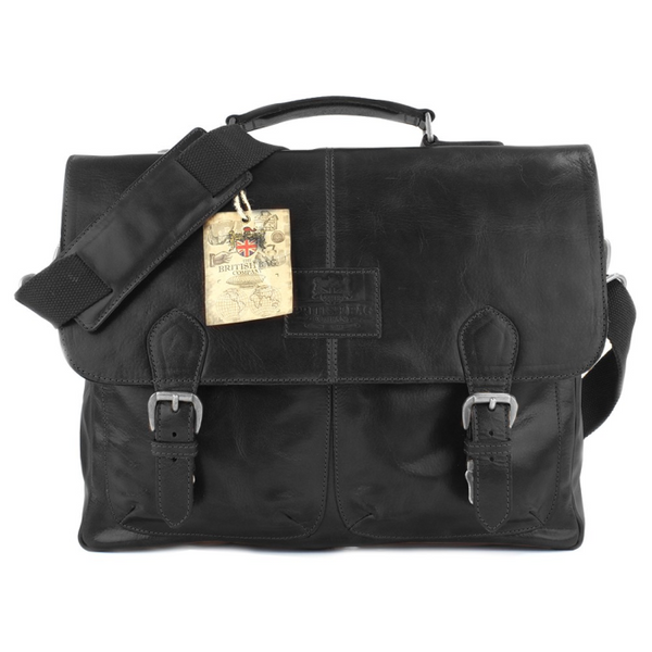 The Oakham Black Leather Briefcase 710019