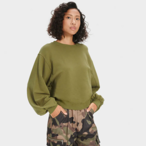 Ugg Brook Balloon Sleeve Crew in Olive 7735