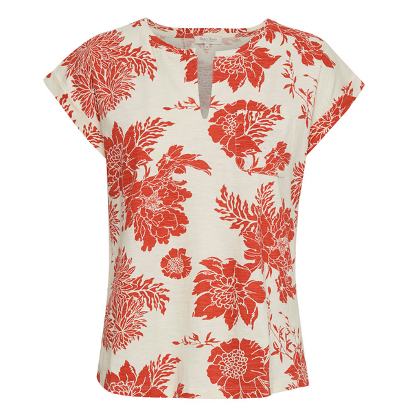 Part Two Kedita Tshirt in Orange Floral 3217