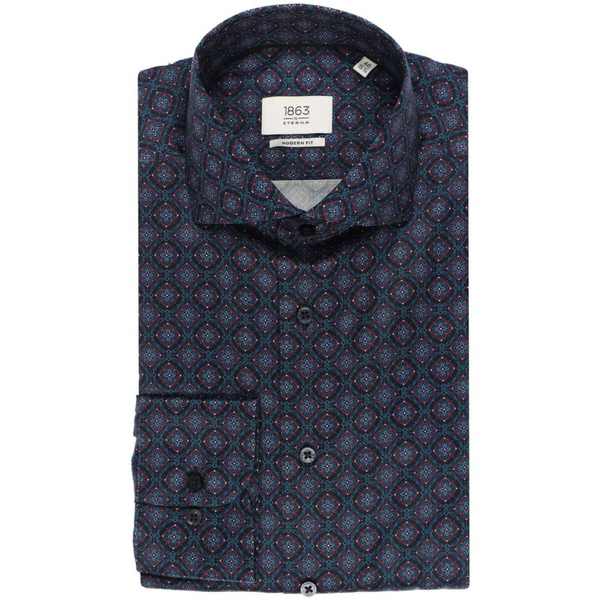 ETERNA 1863 MODERN FIT SHIRT MARINE PATTERNED 3972.X682.19