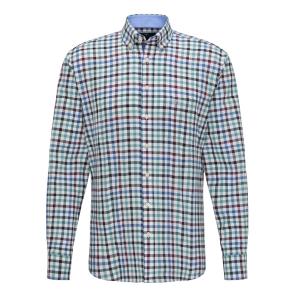 FYNCH HATTON 1220-8030 SUPERSOFT COTTON SHIRT WITH CHEQUERED PATTERN - AMARENA-SOFT PINE
