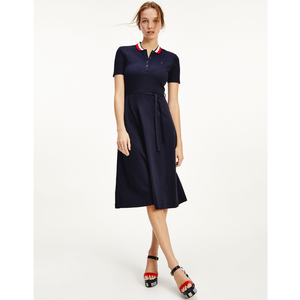 Tommy Hilfiger FIT AND FLARE MIDI POLO DRESS 3036