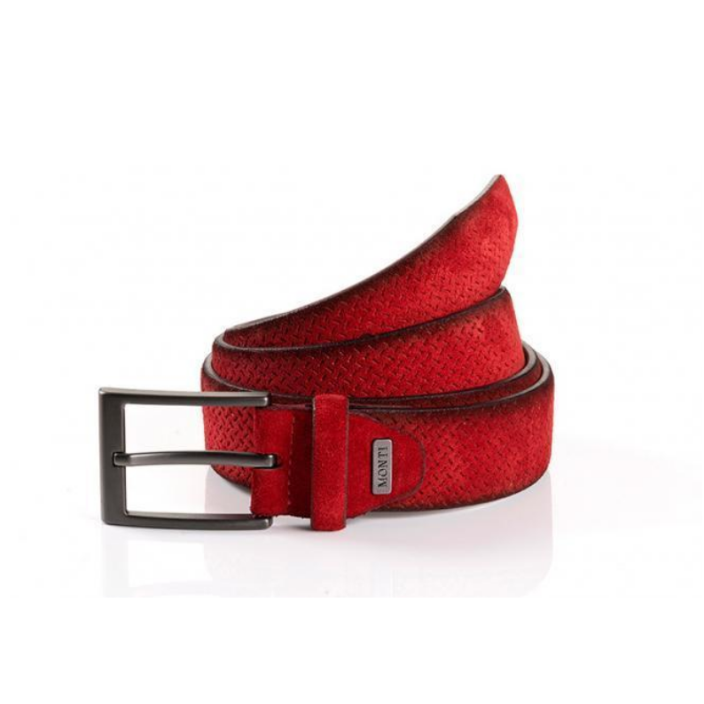 Monti Suede Leather Casual Belt 06313 - Red