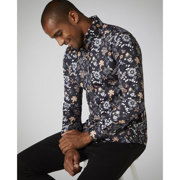 Remus Slim Fit Flower Print Cotton Satin Shirt