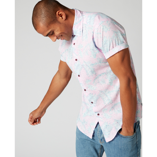 Remus Uomo Tapered Fit Printed Cotton Short Sleeve Shirt Leaf Pink
