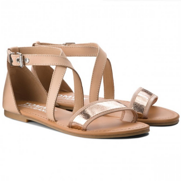 Tommy Jeans Rose Gold Flat Sandal 638