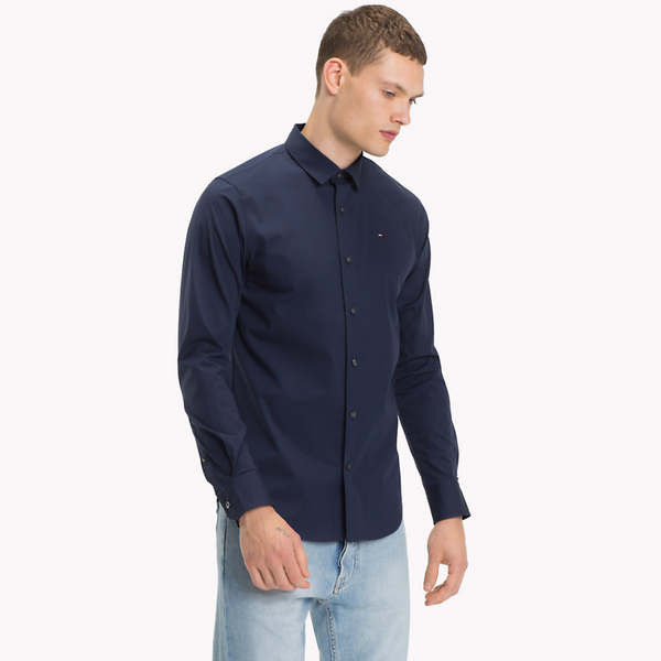 TOMMY JEANS MEN Original Cotton Stretch Shirt - Peacoat