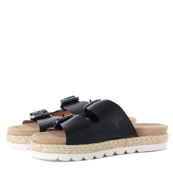 Barbour Lola Leather Buckled Sandal in Black LFO0388