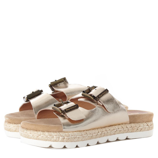 Barbour Lola Leather Sandal in Metallic Gold LFO0388