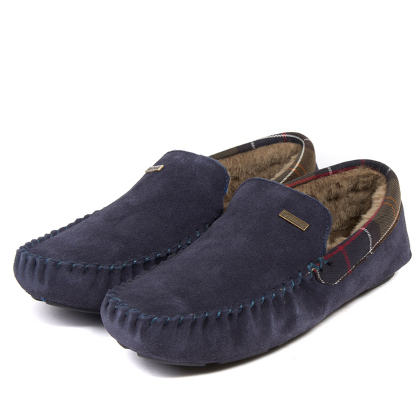 Barbour Monty Fur Lined Slippers - Navy