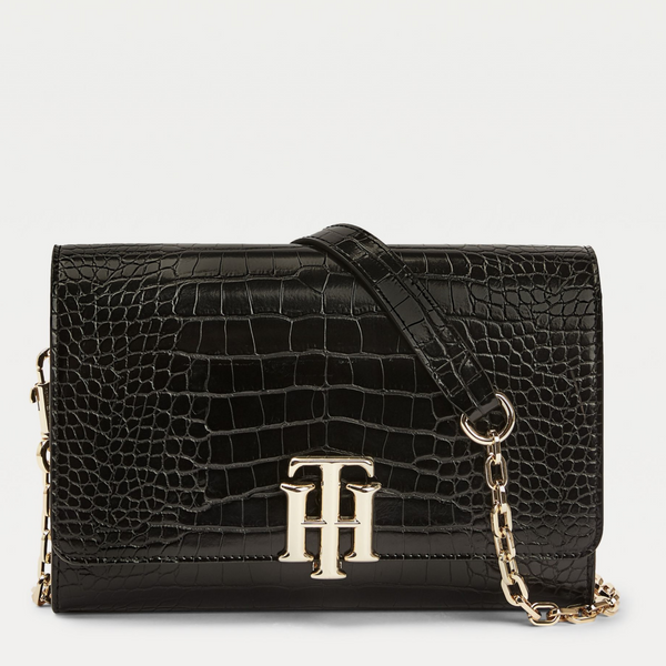 Tommy Hilfiger TH Lock CROC EFFECT BLACK CHAIN BAG 8865