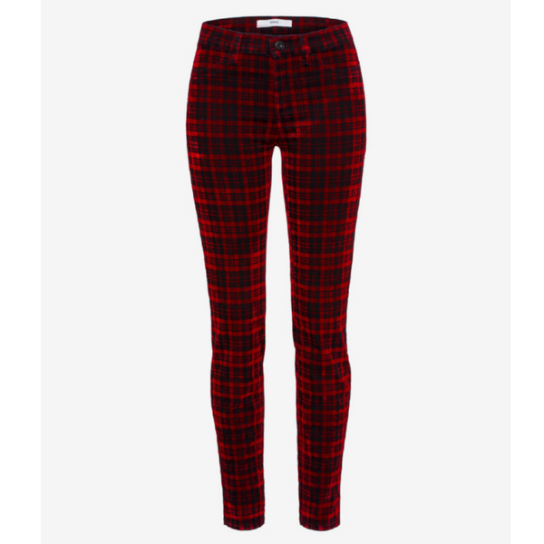 Brax Spice Bum Lift Tartan Check Trouser 73-6297