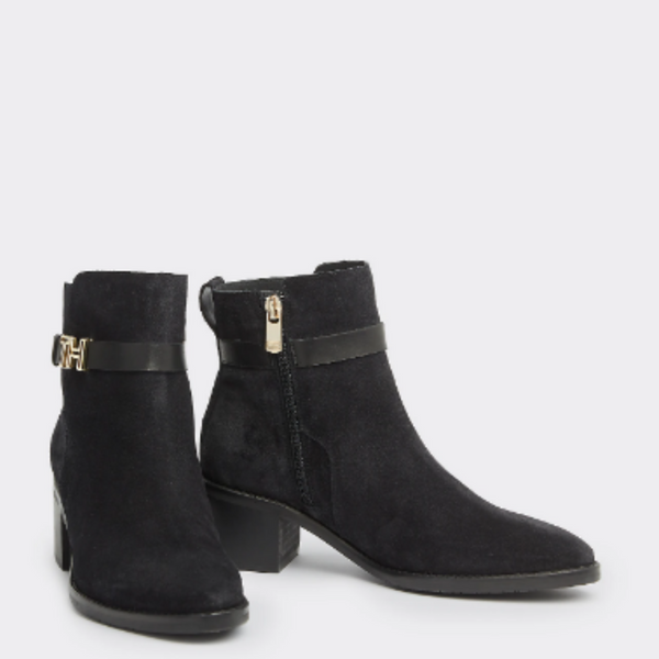 Tommy Hilfiger Suede Mid-Heel Hardware Boot 4285