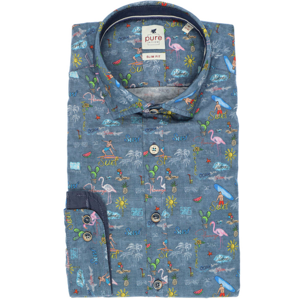 PURE SLIM FIT SHIRT MULTI-COLOR PATTERNED C91512.21117.985