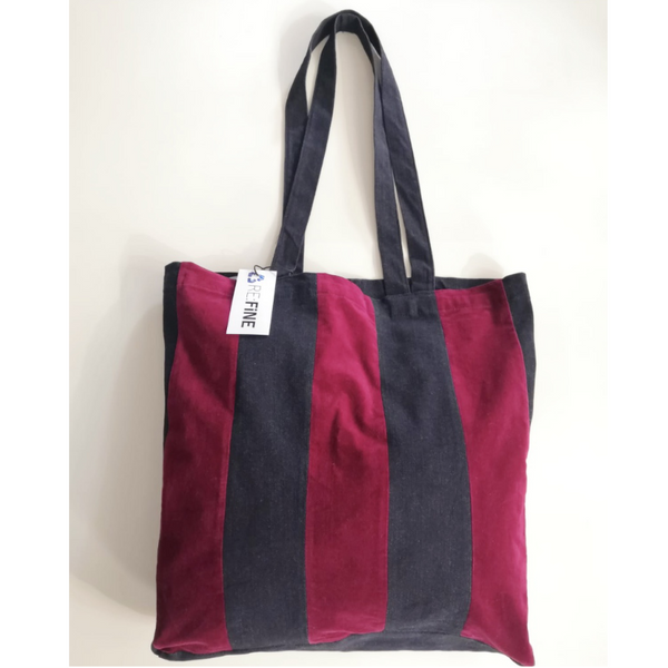 Refine Denim Velvet Indigo Denim Patchwork Tote 01