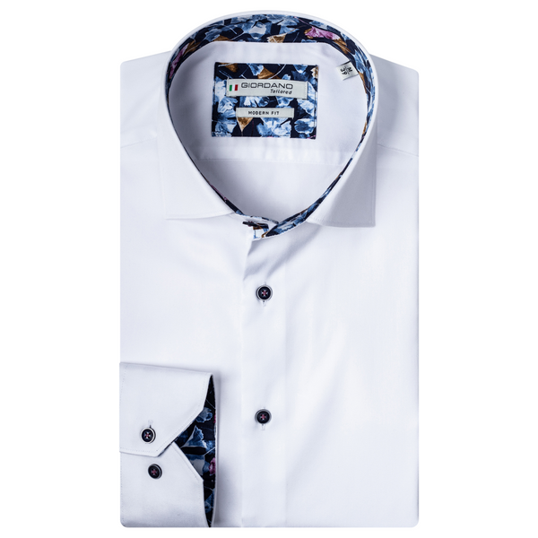 Giordano Leaf Trim Soft Fine Twill Shirt - 207849 White