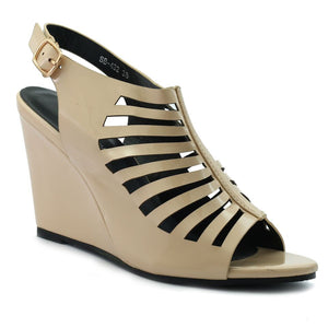 Beige Artificial Leather Wedges SB-432