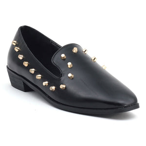 Black Faux Leather Casual Shoes SB-130