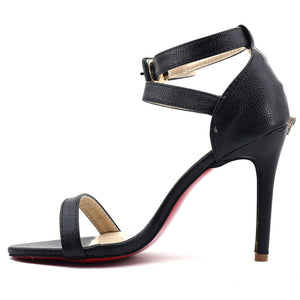 Black Artificial Leather Heels SB-295