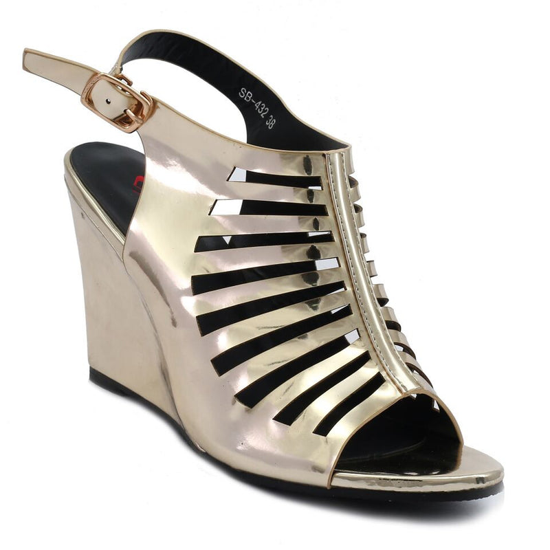 Gold Artificial Leather Wedges SB-432