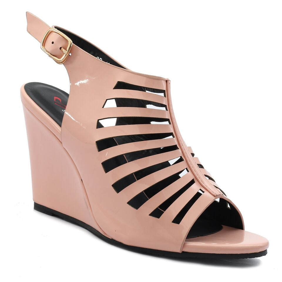 Pink Artificial Leather Wedges SB-432